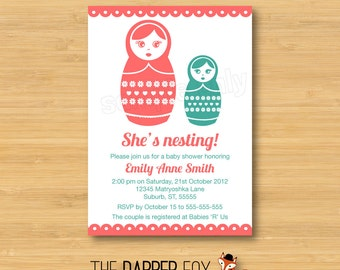Babushka Baby Shower Invitation - Matryoshka Nesting Doll - Printable - 5x7 - Girl baby shower