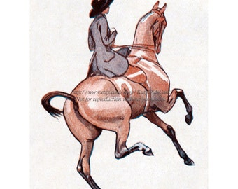 Horse Fabric Block | Girl Rides Sidesaddle | French Artist Neziere