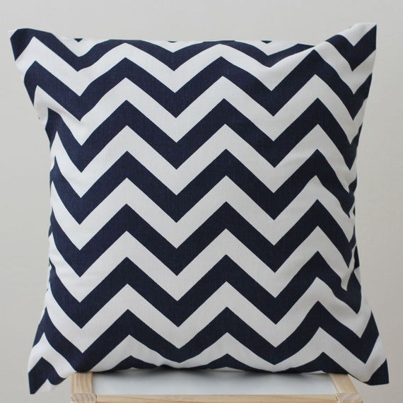 Etsy Navy Throw Pillow : SALE Cushion Cover Chevron Navy 40cm x 40cm by raenne on Etsy