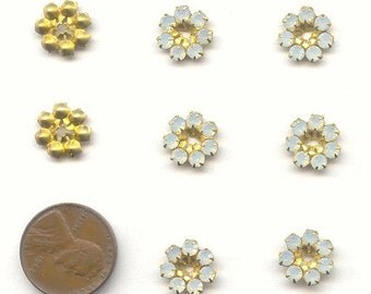 12 Vintage Swarovski White Opal 7 Rhinestone Brass 11mm Round Bead Findings E155