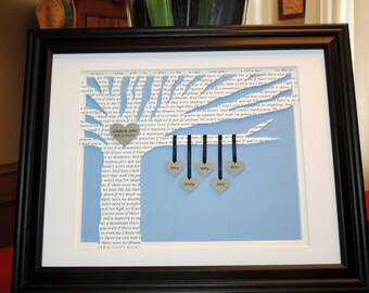 Mothers Day Gift, Family Tree with Poem, Song Lyrics Art, 3D Paper Tree - Customized and 10x13 Framed