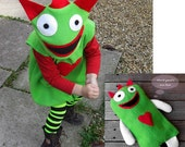 Halloween child's monster costume green red and MATCHING TOY for baby and toddler