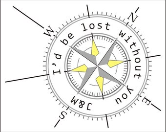 """Love Quote Print with Compass, Personalized Nautical Print, Grey and Yellow, Mid Century Modern, Personalised Compass Print, 8x10"""" Guy gift"""