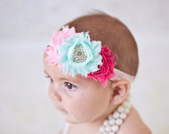 Baby Headband Mint and Hot pink Headband Shabby Headband Baby Bows girl Headband Hair bow Flower Headband Newborn Headband