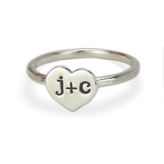 Sterling Silver Couple Heart Initial Ring