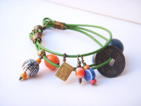 Colorful Multistrand Green Leather Beaded Bracelet Brass Passport Chinese Coin Charm Bracelet