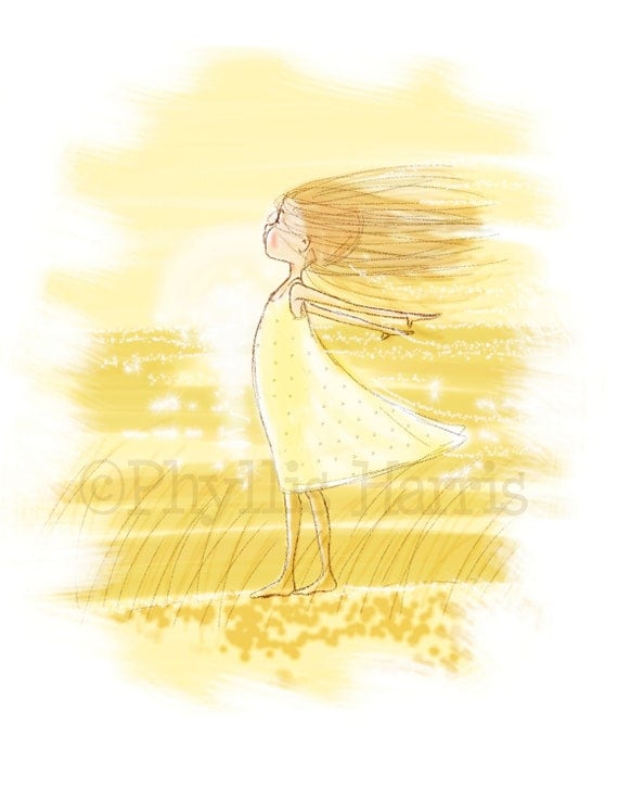 Girls Wall Art Print Little Girl In Wind Girl 39 S Room