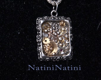 Rustic steampunk framed silver necklace