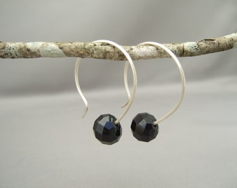 Coal Black Opaque Czech Glass Sterling Silver Modern Contemporary Hoop Earrings
