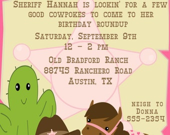 Cowgirl Child's Birthday Party Invitation