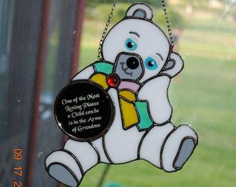 "Stain Glass Teddy Bear Suncatcher with ""Grandma"" Saying, Handmade Grandma Gift Teddy Bear Stain Glass, Baby Shower Gift"