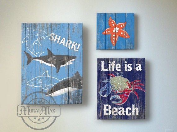 Beach decor wall hangings : Beach kids room decor wall art vintage