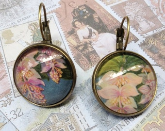 Pink Orchids One of a Kind Glass Dome Earrings Handmade with Real Vintage Postage Stamps, 20mm, 20-000006RF