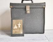 Vintage Black Record Storage Box Vinyl Travel Case