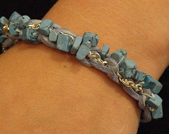 Blue Bead and Silver Chain Bracelet