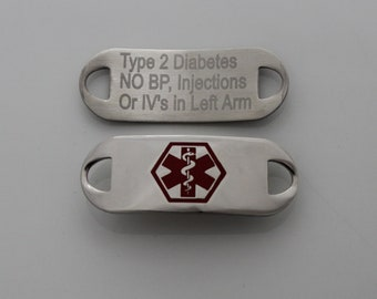 Medical Bracelet I.D. Tag Interchangeable with Medical Bracelets includes FREE ENGRAVING