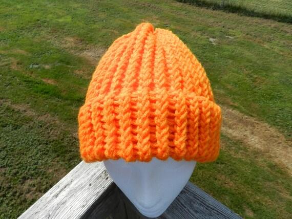 Orange Knit Hat, Loom Knitted Hat, Winter Hat, Warm Hat, Syracuse Orange, Volunteers, Team Spirit, Unisex Hat, MADE TO ORDER Hat