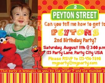 Elmo & Sesame Street Birthday Invitation - Custom Digital File
