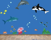 Fish Wall Decal Reusable Under the Sea Wall Decal - extra large