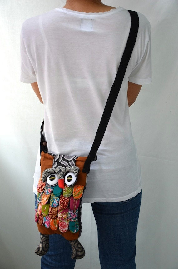 Medium - Brown Ninja Hip Bag Handmade Owl Patchwork Crossbody Bag Messenger M4257