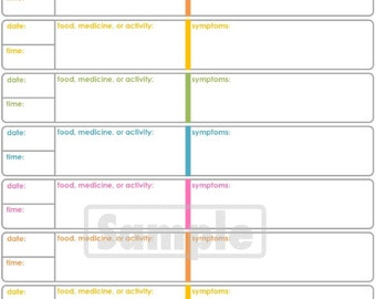 Symptoms Tracker - Printable for Health and Medical - INSTANT DOWNLOAD