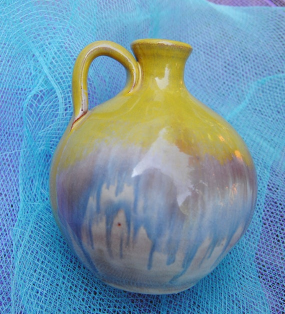Reserved for Angela - Vintage Vase - Pottery -Yellow, Baby Blue & Brown -1940's - Stunning