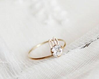 Dainty ring,gold Rabbit ring,bunny ring,Swarovski ring,crystal ring,Minimalist ring,cute rings,boho rings,unique rings,teen girlfriend gifts
