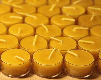 Beeswax Candles - 100% Pure Beeswax Tea Lights -- 12 Pack -- Free Shipping