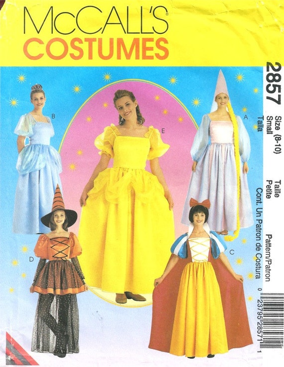 Adult Belle Cinderella Snow White Rapunzel and Witch Storybook Costumes sizes 8-10 small McCalls