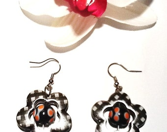 Handmade Fall Checkered Flower Earrings