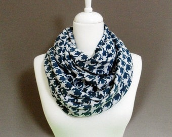 Teal and White Houndstooth Infinity Scarf, Scarves, Shawls, Circle Scarf, Loop Scarf, Spring - Fall - Winter fashion
