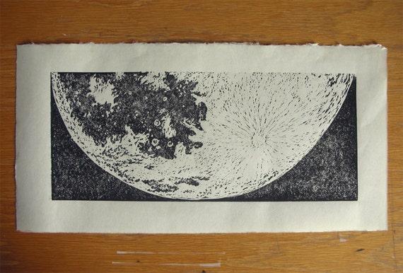 Half Moon linocut