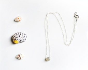 delicate labradorite necklace ///  tiny gemstone necklace in sterling silver or 14k gold filled chain /// simple everyday jewelry