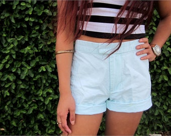 Mossino mint green high waisted shorts