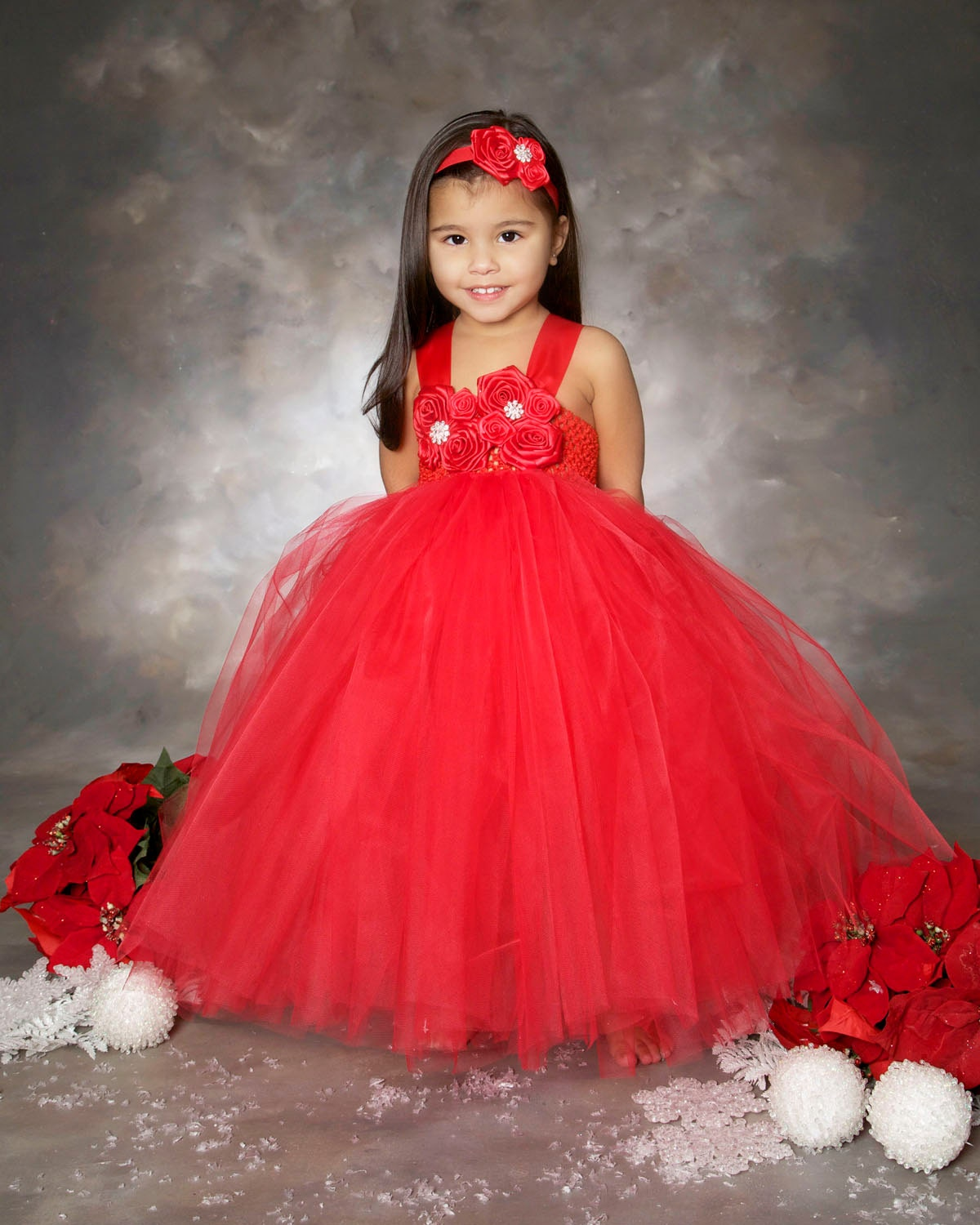 Red Flower Girl Dress Christmas Tutu Dress Holiday Outfit