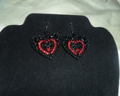 Show me your Heart Black and Red Earrings