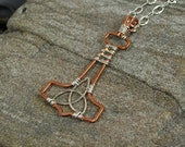 Handmade Mjolnir Pendant Wire Wrapped in Sterling Silver and Copper