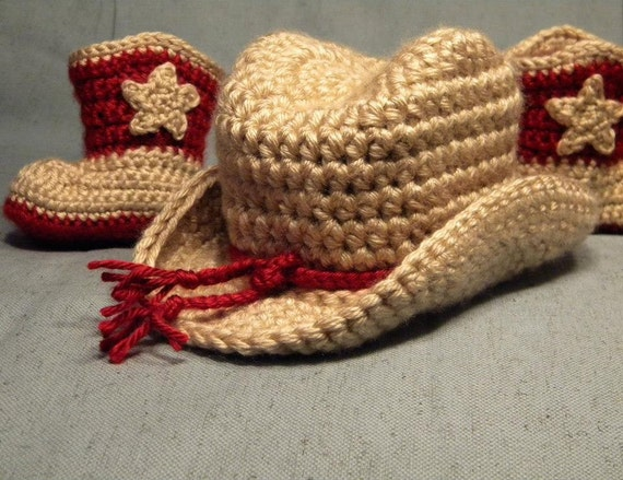 Made-to-Order Crocheted Newborn Infant Baby Boy or Girl Cowboy Boots & Hat Photography Prop