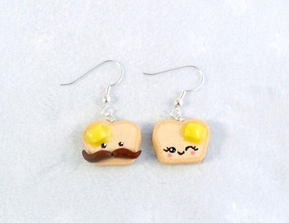 Kawaii Mustache Toast Earrings, Mr. and Mrs. Toast, Cute :)