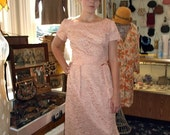 Vintage 1960s Pink Lace Sheath Dress