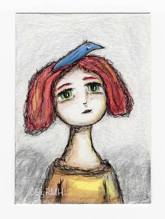 Aceo Original Drawing Girl With Blue Bird