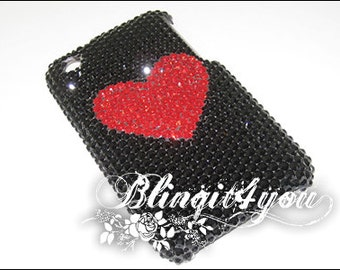 Cute Rhinestone Diamond Bling Cute Red Heart Back Case Cover for iPhone 5S 5C 6 6S 6S Plus Handmade with 100% Swarovski Crystal Elements