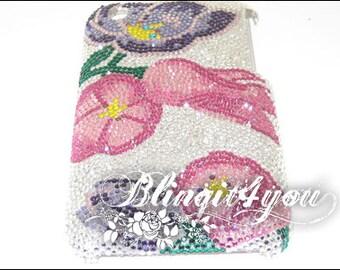 Rhinestone Custom Diamond Pink Purple Flower Back Case Cover for iPhone 5 SE 6 7 Plus Handmade w/ SS 5 Tiny 100% Swarovski Crystal Elements