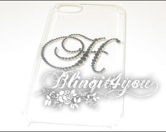 Personalized Rhinestone Diamond Bling Initial H Back Case Cover for iPhone 5 SE 6 6S 7 7 Plus Handmade with 100% Swarovski Crystal Elements