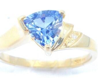 14Kt Yellow Gold Plated Tanzanite & Diamond Trillion Ring