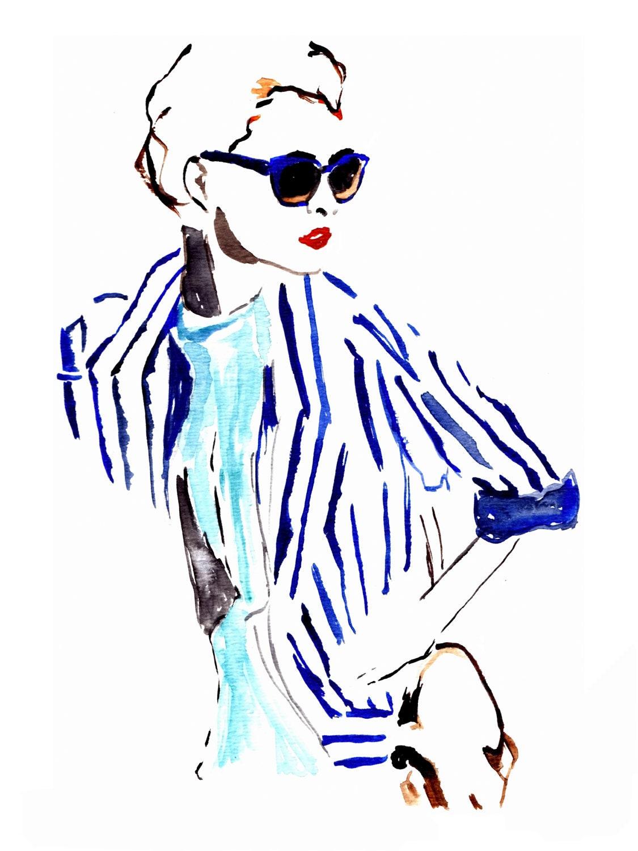 Watercolor Painting Fashion Illustration by PalettesOfFashion