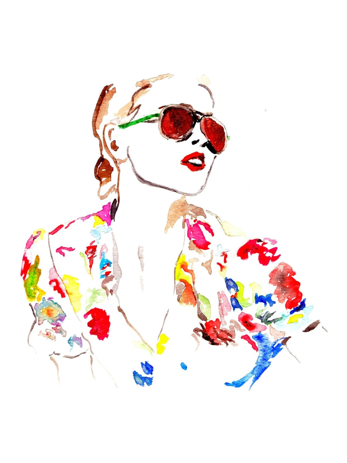 Items similar to Watercolor Painting, Fashion Illustration ...