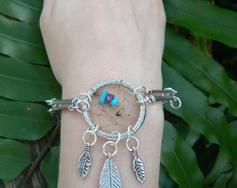 dreamcatcher bracelet turquoise amethyst  in bohemian tribal gypsy boho hipster native  hippie style