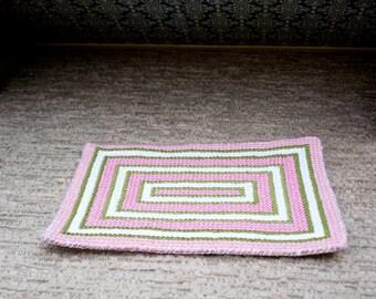 Miniature dollhouse cross-stitched preppy area rug