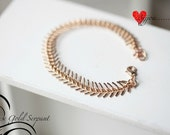 GOLD Fishbone Bracelet -Gold Serpant Chain Link Bracelet - Chain bracelet